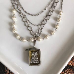 Jewel Kade set of Owl Charm & layered chain